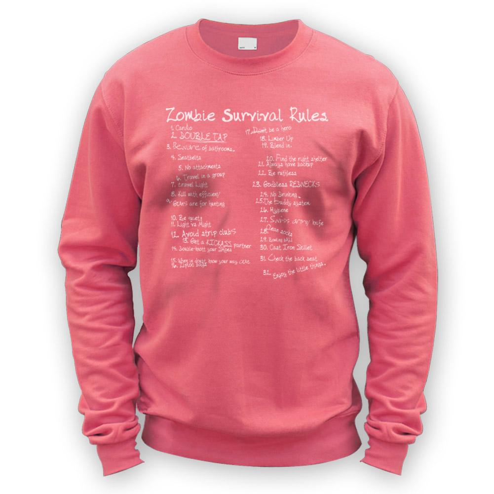 list of zombie rules sweater x8 colours gift fan horror movie fan