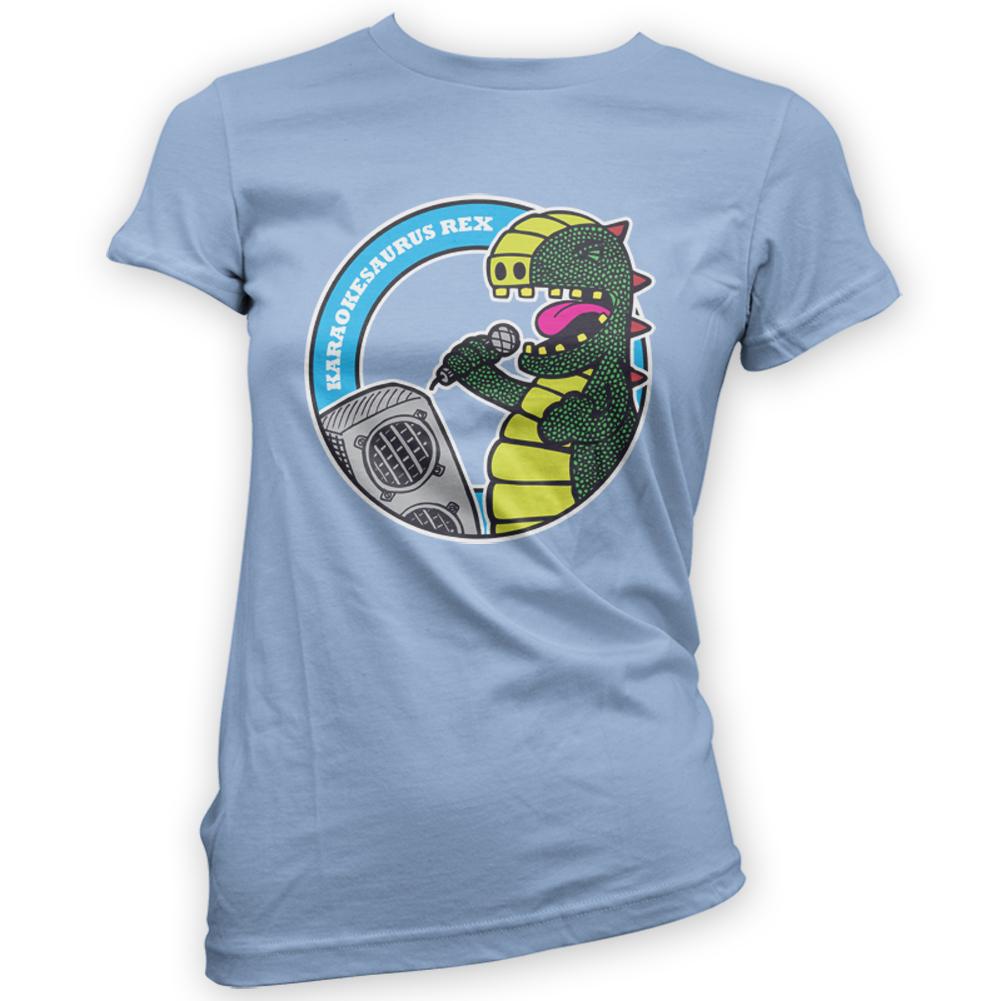 Karaoke Rex Womens T-Shirt -x14 Colours- Gift Dinosaur Singer Sing ...